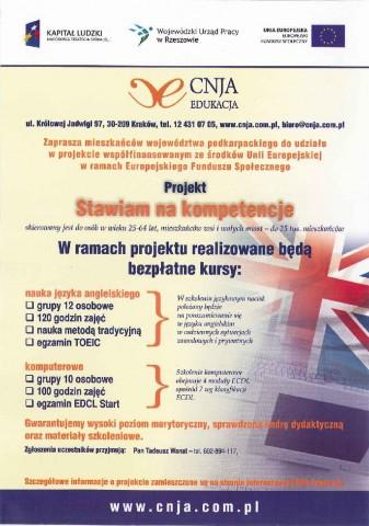 Bezpłatny kurs komputerowy oraz z języka angielskiego dla mieszkańców Gminy w ramach realziacji projektu