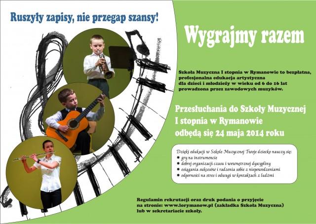 Rekrutacja do Szkoły Muzycznej I st. w Rymanowie (szkoła popołudniowa)
