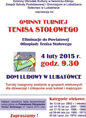 Eliminacje do Powiatowej Olimpiady Tenisa Stołowego w Lubatówce