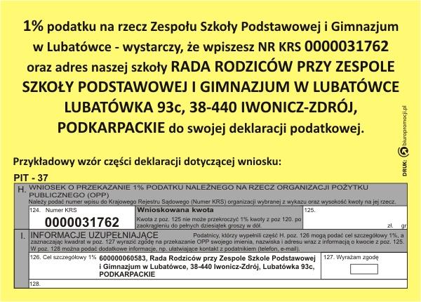 1% podatku na rzecz Zespołu Szkoły Podstawowej i Gimnazjum w Lubatówce...
