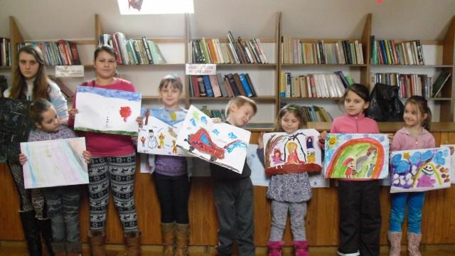 Zajęcia plastyczne  w bibliotece w Iwoniczu